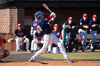 Jake Kennedy (30) of the Shippensburg Raiders hits the first of his two home runs on the day against the Belmont Abbey Crusaders at Abbey Yard on February 8, 2015 in Belmont, North Carolina.  The Raiders defeated the Crusaders 14-0.  (Brian Westerholt/Four Seam Images)