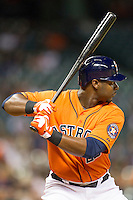 Houston Astros outfielder Chris Carter (23) at bat during the MLB baseball game against the Detroit Tigers on May 3, 2013 at Minute Maid Park in Houston, Texas. Detroit defeated Houston 4-3. (Andrew Woolley/Four Seam Images).