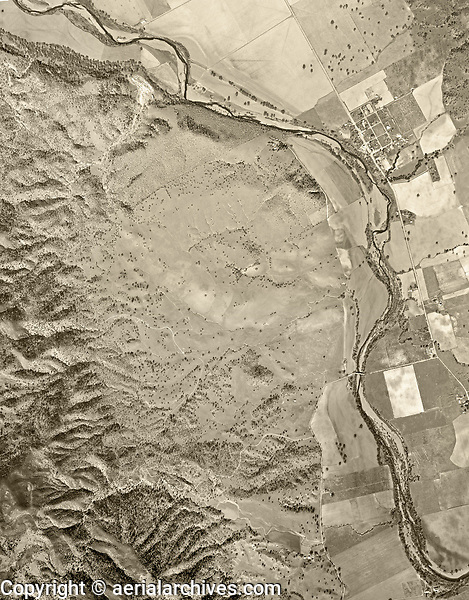 historical aerial photo map of the town of Monticello and Putah Creek before creation of Lake Berryessa, Napa County, 1948