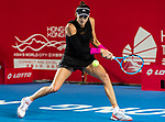 Garbine Muguruza of Spain competes against Luksika Kumkhum of Thailand during the singles quarter final match at the WTA Prudential Hong Kong Tennis Open 2018 at the Victoria Park Tennis Stadium on 12 October 2018 in Hong Kong, Hong Kong.