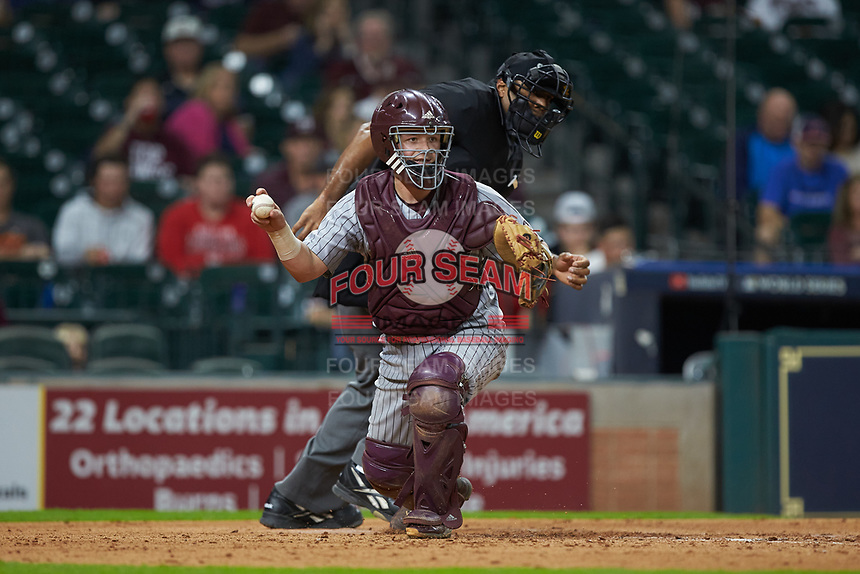 Dustin Skelton (8) of the Mississippi State Bulldogs checks the runner on first base during the game against the Sam Houston State Bearkats during game eight of the 2018 Shriners Hospitals for Children College Classic at Minute Maid Park on March 3, 2018 in Houston, Texas. The Bulldogs defeated the Bearkats 4-1.  (Brian Westerholt/Four Seam Images)