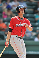 First baseman Brendon Hayden (34) of the Lakewood BlueClaws bats in a game against the Greenville Drive on Sunday, June 26, 2016, at Fluor Field at the West End in Greenville, South Carolina. Greenville won, 2-1. (Tom Priddy/Four Seam Images)