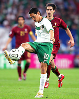 Guillermo Franco (10) of Mexico clears the ball. Portugal defeated Mexico 2-1 in their FIFA World Cup Group D match at FIFA World Cup Stadium, Gelsenkirchen, Germany, June 21, 2006.