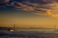 Fine Art Landscape Photograph of a golden sunset on the Bosphorus in Istanbul Turkey.