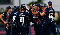 James Logan (C-Facing) of Kent is mobbed after taking the wicket of Paul Stirling during Kent Spitfires vs Middlesex, Vitality Blast T20 Cricket at The Spitfire Ground on 11th June 2021