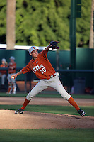Blake Wellmann (35) of the Texas Longhorns pitches against the UCLA Bruins at Jackie Robinson Stadium on March 12, 2016 in Los Angeles, California. UCLA defeated Texas, 5-4. (Larry Goren/Four Seam Images)