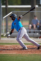 Miami Marlins Miguel Pena (6) during a Minor League Spring Training Intrasquad game on March 28, 2019 at the Roger Dean Stadium Complex in Jupiter, Florida.  (Mike Janes/Four Seam Images)