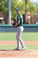 Oakland Athletics relief pitcher Bryce Nightengale (46) gets ready to deliver a pitch during an Instructional League game against the Los Angeles Dodgers at Camelback Ranch on September 27, 2018 in Glendale, Arizona. (Zachary Lucy/Four Seam Images)