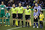 Sheffield Wednesday 2 Peterborough 1, 20/01/2010. Hillsborough, Championship. Female referee's assistant Amy Fearn lines up with her colleagues and players before Sheffield Wednesday take on Peterborough United in a Coca-Cola Championship match at Hillsborough Stadium, Sheffield. The home side won by 2 goals to 1 giving Alan Irvine his third straight win since taking over as Wednesday's manager. Photo by Colin McPherson.