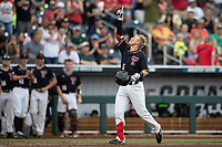 Texas Tech Red Raiders second baseman Brian Klein (5) crosses the plate after hitting a home run during Game 1 of the NCAA College World Series against the Michigan Wolverines on June 15, 2019 at TD Ameritrade Park in Omaha, Nebraska. Michigan defeated Texas Tech 5-3. (Andrew Woolley/Four Seam Images)