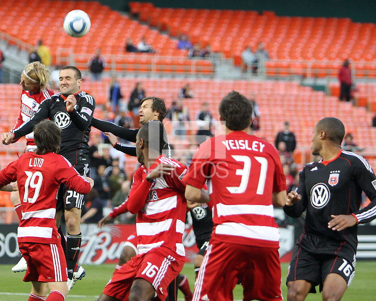 Brandon Barklage #24 of D.C. United goes up for a header with Brek Shea #20 of F.C. Dallas during a US Open Cup match on April 28 2010, at RFK Stadium in Washington D.C. United won 4-2.