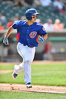 Tennessee Smokies first baseman Jason Vosler (22) runs to first base during a game against the Birmingham Barons at Smokies Stadium on May 6, 2018 in Kodak, Tennessee. The Smokies defeated the Barons 6-2. (Tony Farlow/Four Seam Images)