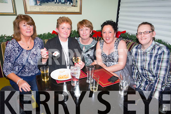Noreen Galvin, Chris Tansley, Valerie Carroll, Jacinta Quirke, Liam Quirke enjoying a Festive night out on Saturday at the Brogue