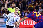 VELUX EHF 2019/20 EHF Men's Champions League Group Phase - Round 8.<br /> FC Barcelona vs Aalborg Handbold: 44-35.<br /> Janus Dadi Smarason vs Thiagus Petrus.