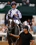 """October 10, 2018 : #4 Concrete Rose and jockey Jose Lezcano win the 28th running of The JPMorgan Chase Jessamine Grade 2 $200,000 """"Win and You're In Breeders' Cup Juvenile Fillies Turf Division"""" for trainer George Arnold and owner Ashbrook Farm, BBN Racing at Keeneland Race Course on October 10, 2018 in Lexington, KY.  Candice Chavez/ESW/CSM"""