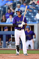 Tulsa Drillers third baseman Joey Wong (1) at bat during the second game of a doubleheader against the Frisco Rough Riders on May 29, 2014 at ONEOK Field in Tulsa, Oklahoma.  Frisco defeated Tulsa 3-2.  (Mike Janes/Four Seam Images)