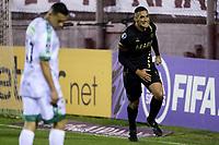 LANUS - ARGENTINA, 20-05-2021: Jugadores Club Atletico Lanus (ARG) celebran el gol anotado a La Equidad (COL), durante partido del grupo H fecha 5 entre Club Atletico Lanus (ARG) y La Equidad (COL) por la Copa CONMEBOL Sudamericana 2021 en el Estadio Ciudad de Lanus - Nestor Diaz Perez de la ciudad de Lanus. / Players of Club Atletico Lanus (ARG), celebrate a scored goal to La Equidad (COL), during a match of the group H 5th date beween Club Atletico Lanus (ARG) and La Equidad (COL) for the CONMEBOL Sudamericana Cup 2021 at the Ciudad de Lanus - Nestor Diaz Perez Stadium, in Lanus city.  / VizzorImage / Fotobaires / Nicolas Aboaf / Cont.
