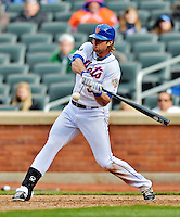 11 April 2012: New York Mets outfielder Kirk Nieuwenhuis at bat during game action against the Washington Nationals at Citi Field in Flushing, New York. The Nationals shut out the Mets 4-0 to take the rubber match of their 3-game series. Mandatory Credit: Ed Wolfstein Photo