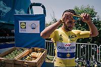 yellow jersey / GC leader Fernando Gaviria (COL/Quick Step Floors) at the teambus before the start<br /> <br /> Stage 2: Mouilleron-Saint-Germain > La Roche-sur-Yon (183km)<br /> <br /> Le Grand Départ 2018<br /> 105th Tour de France 2018<br /> ©kramon