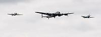 Battle of Britain Memorial Flight, Hurricane, Lancaster & Spitfire, at the Farnborough International Airshow .