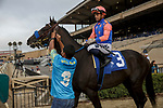 DEL MAR, CA  AUGUST 29: #3 Rock Your World ridden by Umberto Rispoli, in the post parade of the Shared Belief Stakes on August 29, 2021 at Del Mar Thoroughbred Club in Del Mar, CA. (Photo by Casey Phillips/Eclipse Sportswire/CSM)