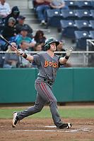 Bret Boswell (13) of the Boise Hawks bats against the Everett AquaSox at Everett Memorial Stadium on July 20, 2017 in Everett, Washington. Everett defeated Boise, 13-11. (Larry Goren/Four Seam Images)