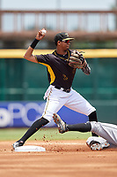 Bradenton Marauders second baseman Alfredo Reyes (2) turns a double play during the first game of a doubleheader against the Jupiter Hammerheads on May 27, 2018 at LECOM Park in Bradenton, Florida.  Bradenton defeated Jupiter 13-5.  (Mike Janes/Four Seam Images)