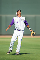 Winston-Salem Dash shortstop Cleuluis Rondon (5) calls for a pop fly in shallow left field during the game against the Wilmington Blue Rocks at BB&T Ballpark on July 6, 2014 in Winston-Salem, North Carolina.  The Dash defeated the Blue Rocks 7-1.   (Brian Westerholt/Four Seam Images)