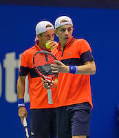 Rotterdam,Netherlands, December 15, 2015,  Topsport Centrum, Lotto NK Tennis, doubles: Tallon Griekspoor (L) and Vincent van den Honert (NED)<br /> Photo: Tennisimages/Henk Koster