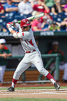 Arkansas Razorbacks second baseman Rick Nomura (1) at bat during the NCAA College baseball World Series against the Miami Hurricanes on June 15, 2015 at TD Ameritrade Park in Omaha, Nebraska. Miami beat Arkansas 4-3. (Andrew Woolley/Four Seam Images)