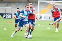 Stephen McGinn of Wycombe Wanderers holds off Luke O'Nien of Wycombe Wanderers during the Open Training Session in front of supporters during the Wycombe Wanderers 2016/17 Team & Individual Squad Photos at Adams Park, High Wycombe, England on 1 August 2016. Photo by Jeremy Nako.
