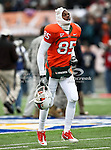 Miami Hurricanes wide receiver Leonard Hankerson (85) gets ready before the 2010 Hyundai Sun Bowl football game between the Notre Dame Fighting Irish and the Miami Hurricanes at the Sun Bowl Stadium in El Paso, Tx. Notre Dame defeats Miami 33 to 17...