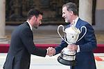 King Felipe VI of Spain gives award to Saul Craviotto during National Sport Awards 2016 at El Pardo Palace in Madrid , Spain. February 19, 2018. (ALTERPHOTOS/Borja B.Hojas)