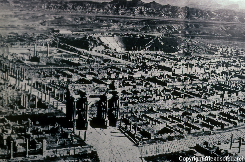 North Africa: Roman Timgad--General view. Excellent example of the grid plan as used in Roman city planning.. Reference only.