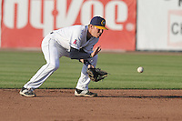 Burlington Bees Jake Yacinich (7) field a ground ball during the Midwest League game against the Peoria Chiefs at Community Field on June 9, 2016 in Burlington, Iowa.  Peoria won 6-4.  (Dennis Hubbard/Four Seam Images)