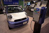 D&K :Montreal, Oct 2000<br /> Various car manufacturers such as Toyota with this `` e.com `` model,  were showing electrical and hybrid vehicules at the EVS-17 conference on Electrical Vehicules held from October 14 to 17 in Montreal, Canada<br /> Photo : Pierre Roussel / Newsmakers<br /> <br /> NOTE :  Nikon D-1 digital photos (similar 35mm slides available on request)