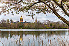April 14, 2021; St. Joseph's Lake and campus during spring of 2021. (Photo by Barbara Johnston/University of Notre Dame)