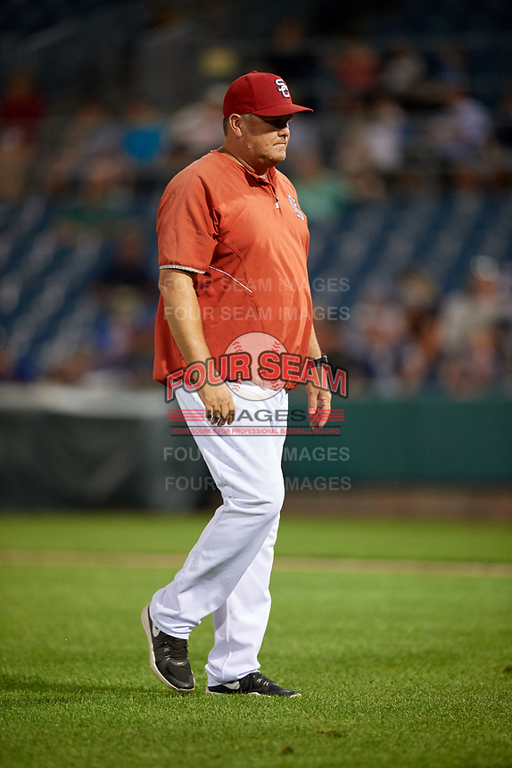 Syracuse Chiefs pitching coach Brad Holman (38) walks back to the dugout during a game against the Buffalo Bisons on September 2, 2018 at NBT Bank Stadium in Syracuse, New York.  Syracuse defeated Buffalo 4-3.  (Mike Janes/Four Seam Images)
