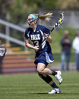 Yale University midfielder Ashley McCormick (3) on the attack. Boston College defeated Yale University, 16-5, at Newton Campus Field, April 28, 2012..