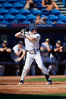 Michigan Wolverines shortstop Jack Blomgren (18) at bat during a game against Army West Point on February 18, 2018 at Tradition Field in St. Lucie, Florida.  Michigan defeated Army 7-3.  (Mike Janes/Four Seam Images)