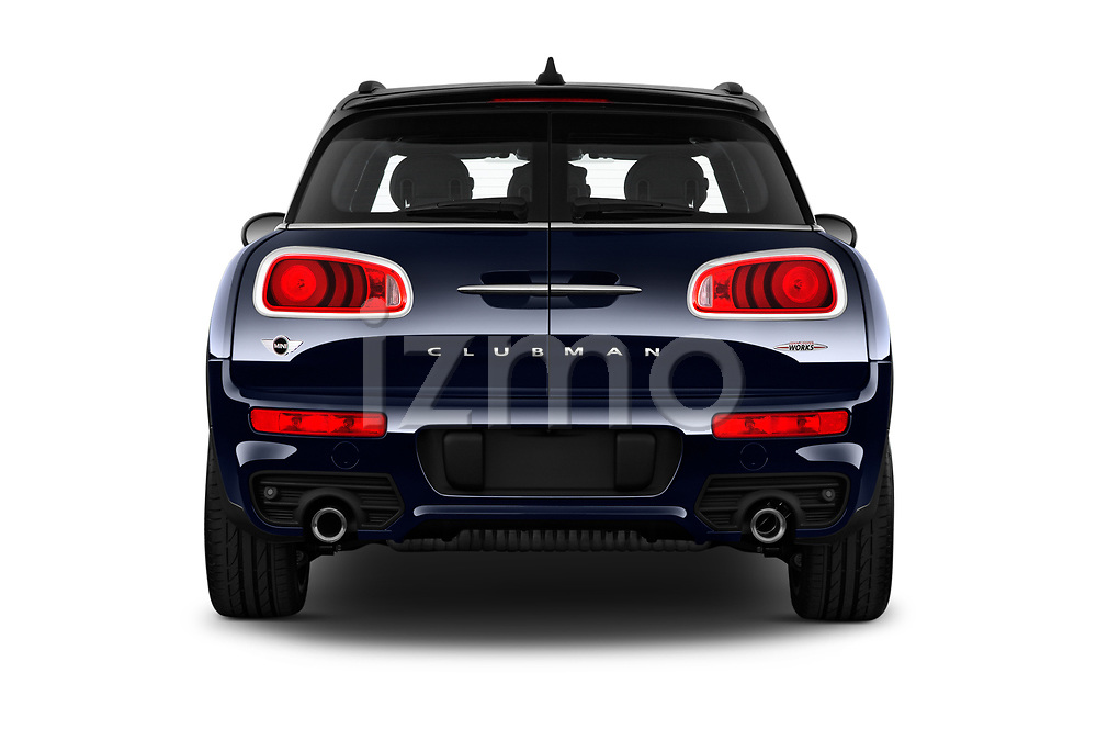 Straight rear view of a 2018 Mini Clubman John Cooper Works 5 Door Wagon stock images