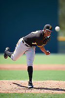 Pittsburgh Pirates pitcher Sergio Cubilete (77) during an Instructional League Intrasquad Black & Gold game on September 21, 2016 at Pirate City in Bradenton, Florida.  (Mike Janes/Four Seam Images)