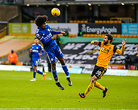 7th February 2021; Molineux Stadium, Wolverhampton, West Midlands, England; English Premier League Football, Wolverhampton Wanderers versus Leicester City; Hamza Choudhury of Leicester City heads the ball back into the box