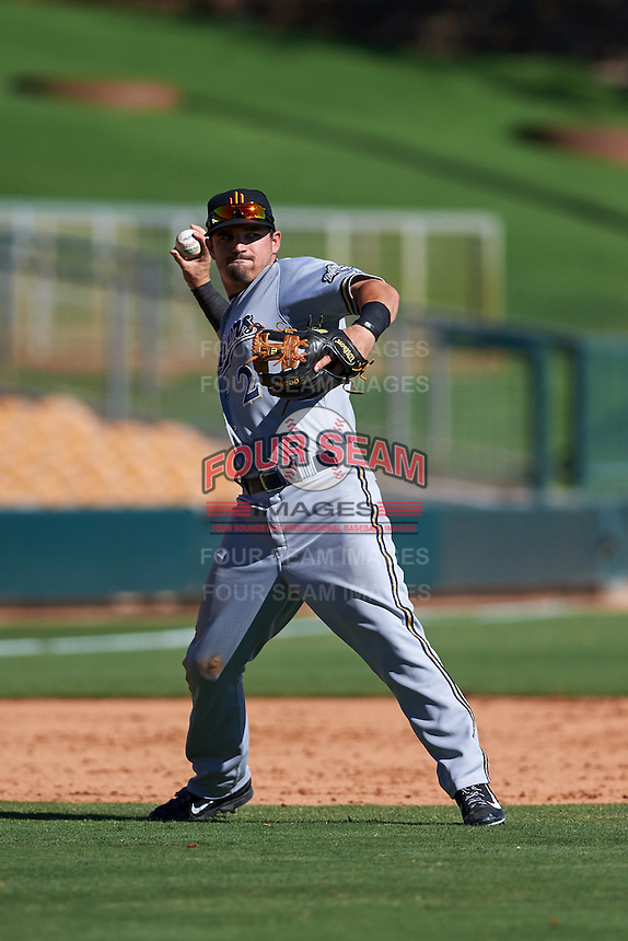 Surprise Saguaros third baseman Nate Orf (2) throws to first during an Arizona Fall League game against the Glendale Desert Dogs on October 24, 2015 at Camelback Ranch in Glendale, Arizona.  Surprise defeated Glendale 18-3.  (Mike Janes/Four Seam Images)