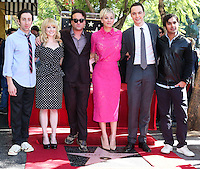 HOLLYWOOD, LOS ANGELES, CA, USA - OCTOBER 29: Simon Helberg, Melissa Rauch, Johnny Galecki, Kaley Cuoco, Jim Parsons, Kunal Nayyar at the ceremony honoring Kaley Cuoco with a star in the Hollywood Walk Of Fame on October 29, 2014 in Hollywood, Los Angeles, California, United States. (Photo by Xavier Collin/Celebrity Monitor)