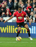 SWANSEA, WALES - FEBRUARY 21: Antonio Valencia of Manchester during the Barclays Premier League match between Swansea City and Manchester United at Liberty Stadium on February 21, 2015 in Swansea, Wales.