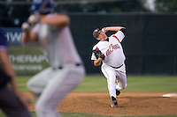 July 7, 2009: Salem-Keizer Volcanoes' Chris Gloor pitches against the Tri-City Dust Devils during a Northwest League game at Volcanoes Stadium in Salem, Oregon.
