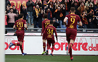 Football, Serie A: AS Roma - Torino, Olympic stadium, Rome, January 19, 2019. <br /> Roma's Nicolò Zaniolo celebrates after scoring with his teammates during the Italian Serie A football match between AS Roma and Torino at Olympic stadium in Rome, on January 19, 2019.<br /> UPDATE IMAGES PRESS/Isabella Bonotto