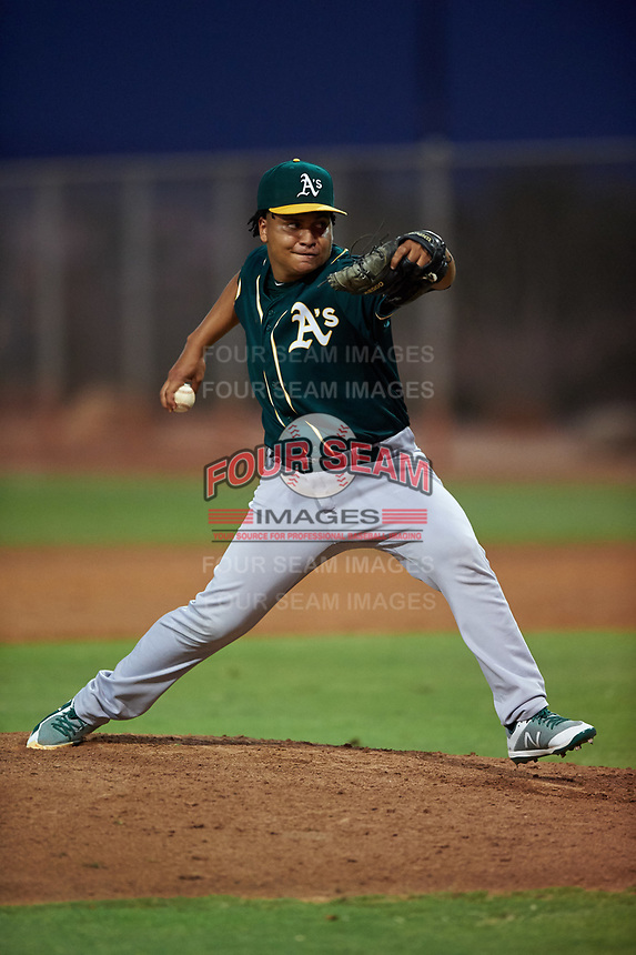 AZL Athletics Green relief pitcher Manuel Manzanillo (45) during an Arizona League game against the AZL Reds on July 21, 2019 at the Cincinnati Reds Spring Training Complex in Goodyear, Arizona. The AZL Reds defeated the AZL Athletics Green 8-6. (Zachary Lucy/Four Seam Images)