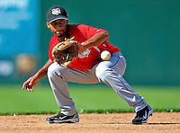 2 July 2011: Tri-City ValleyCats infielder Neiko Johnson warms up prior to a game against the Vermont Lake Monsters at Centennial Field in Burlington, Vermont. The Monsters rallied from a 4-2 deficit to defeat the ValletCats 7-4 in NY Penn League action. Mandatory Credit: Ed Wolfstein Photo